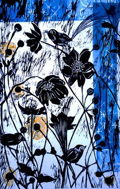"'Japanase Windflowers - Chine Colle Woodcut' by Belinda ""BillyLee"" NYE (Printmaker) Linocut Prints, Art Prints, Secret Places, Woodland Creatures, Natural Forms, Art Club, Printmaking, Graphic Art, Pattern Design"