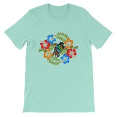 c0714a50 Vacation Tshirt Hawaiian aloha turtle with tropical flowers - Vacation tee