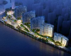 sweeping waterfront lifestyle towers by jerde