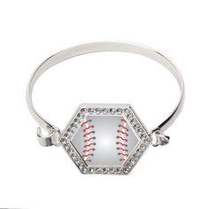 Baseball Hexagon Bracelet http://www.inspiredsilver.com/ #InspiredSilver #CharmBracelet #Baseball #sports