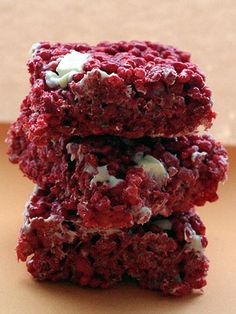 Add red velvet cake mix to your Rice Krispies for a bright (and delicious) update to the classic treat. Get the recipe at American Cupcake Abroad.   - Cosmopolitan.com