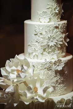 Modern Wedding Cakes This Floral Detailing is divine! Amazing Wedding Cakes, Fall Wedding Cakes, Wedding Cake Designs, Wedding Cake Toppers, Pretty Cakes, Beautiful Cakes, Star Cakes, Cake Trends, Savoury Cake