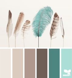 Feathered turquoise, brown, beige color palette from Design Seeds . - Baby deco - Feathered turquoise, brown, beige color palette from Design Seeds … -