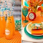 Hello bright and beautiful! #wedding #events #centerpiece #flowers #soda #orange #blue #tangerine #printed #linens #dots