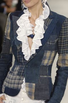 Cute patchwork denim blazer