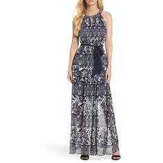 Women's Vince Camuto Chiffon Maxi Dress ($168) ❤ liked on Polyvore featuring dresses, navy ivory, print maxi dress, pleated chiffon dress, chiffon dresses, ivory tuxedo and navy chiffon dress