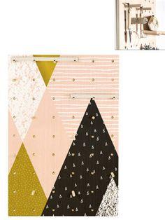 Panneau perforé Geometric en bois de pin, rose pâle et coloris doré, 50x70x2 cm