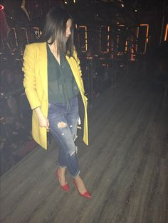 Yellow coat outfit
