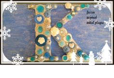 frozen inspired initial plaque complete with snowflake and princess charms