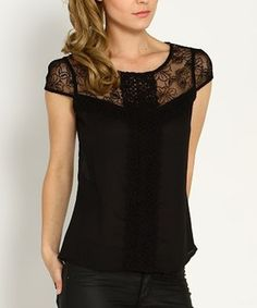Another great find on #zulily! Marineblu Black Lace Cap-Sleeve Top by Marineblu #zulilyfinds