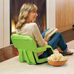 Portable Recliner with Armrests turns the floor into comfortable seating.