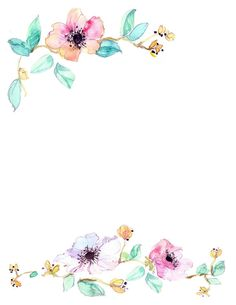 Downloadable watercolor floral border by WaternColour on Etsy