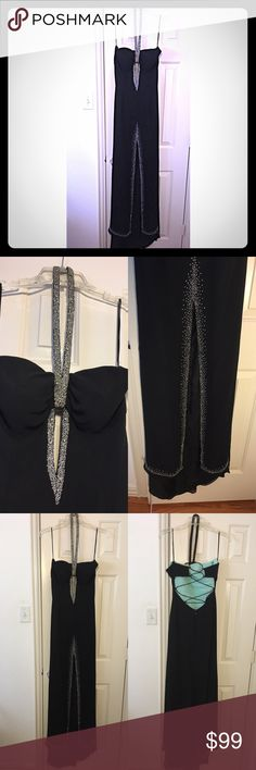 """High slit/split beaded embellished halter gown Black Sweetheart neckline  Beaded halter straps Padded bra inserts  Sequined cut out Front split Sweep train  Low back lace up Zipper in back  24-26"""" waist 34""""hip 53"""" chest to hem  29"""" slit  Tag says size 10  Fits more like a 4-7 give or take    Sexy, classy, elegant look for a special occasion Evening dress Formal dress Prom dress  Homecoming  Ball gown Pageant  BRAND NEW NEVER WORN!!     ***MAKE AN OFFER*** nina canacci Dresses Prom"""