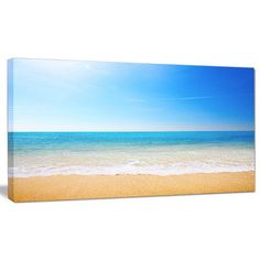 "DesignArt 'Blue Waves at Tropical Beach' Photographic Print on Wrapped Canvas Size: 16"" H x 32"" W x 1"" D"