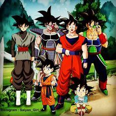 Goku, Bardock, Turles, Goten, Goku Jr, Black