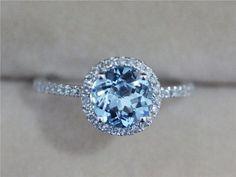 7mm Blue Aquamarine Ring Solid 14K White Gold Round Aquamarine Ring Wedding Ring Diamond Engagement Ring Promise Ring