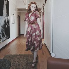 A little bit obsessed with this 70's does 40's dress. Also it was hot as frick on this floor