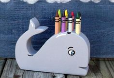 Whale Crayon Holder. Wooden kids toys, Hand Made wood crafts for every one. Proudly hand made in the USA. Carolina Country Crafts on Etsy. $10.00