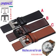 Youyang Plain Leather Watchband adapter DZ1399 DZ4280 DZ4290 24 26 28mm Diesel watch strap //Price: $US $12.75 & FREE Shipping //     #hashtag4
