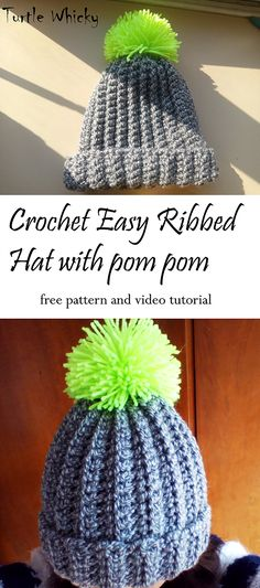 CROCHET SUPER EASY RIBBED HAT WITH POM POM by Turtle Whicky, crochet free pattern, #haken, gratis patroon (Engels), geribbelde muts met pompoen in meerdere maten, #haakpatroon