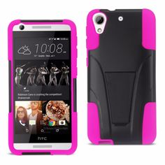 Reiko Silicon Case+Protector Cover For Htc Desire 626 New Type Kickstand Hot Pink Black
