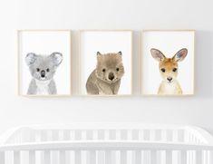 Australian babies Set of 3 Prints koala kangaroo wombat Koala Nursery, Baby Animal Nursery, Baby Nursery Themes, Baby Boy Nurseries, Nursery Art, Baby Animals, Nursery Ideas, Baby Giraffes, Reborn Nursery
