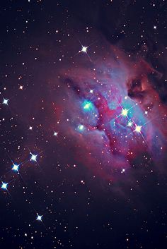 NGC 1973/5/7 is a reflection nebula 1/2 degree northeast of the Orion Nebula. The three NGC objects are divided by darker regions. It is also called The Running Man Nebula and Sharpless Catalog 279.