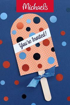 Make this Martha Stewart indigo party Popsicle invitation project it is a cute DIY papercraft party invitation idea. Party Invitations, Party Favors, Throw A Party, Christmas Parties, Cute Diys, Some Ideas, Craft Party, Diy Paper, Martha Stewart