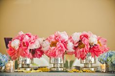 Peony centerpieces in mercury glass, wedding centerpieces, spring wedding flowers