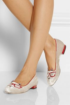 Charlotte Olympia|Clever Kitty embroidered velvet slippers|NET-A-PORTER.COM