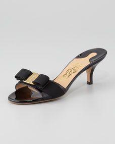 Glory Patent Bow Slide Sandal, Black