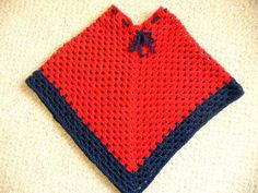 Red & Navy Crocheted Girl's Poncho by ACCrochet on Etsy, $27.00 #promoswap