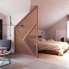 How stunning is this bedroom designed by @zrobym_architects  Love that wood partition! . #bedroom #bedroomdecor #nordichome #nordicinspiration