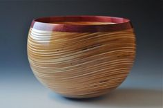"woodbowls: ""Baltic birch plywood with segmented Purple Heart rim. John Beaver """