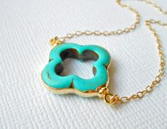 Turquoise Quatrefoil Necklace - 24k Gold Edged Clover - Lucky Unique Everyday Colorful Spring Summer Jewelry