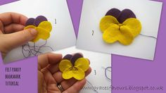 Grace's Favours - Craft Adventures: How To Make A Felt DIY Pansy Flower Bookmark Tutorial