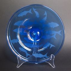 Tailor fish plate - hand-blown, hand-engraved glass by Amanda Louden