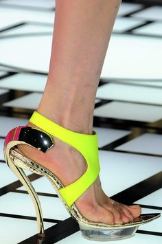 Atelier Versace Neon Yellow Couture Sandal with a Gorgeous Curved Gold Metal Heel Summer 2013 #Shoes #Heels