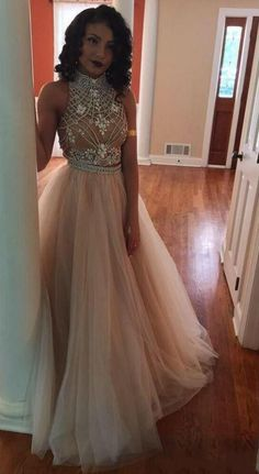 High Neck Two Pieces Crystal Beads Illusion Back #prom #promdress #dress #eveningdress #evening #fashion #love #shopping #art #dress #women #mermaid #SEXY #SexyGirl #PromDresses