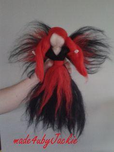 Waldorf inspired Gothic fairy Christmas Fairy, Decoration, Gothic Fairy, Gothic Angel,  ready to ship Dark Angel gothic style