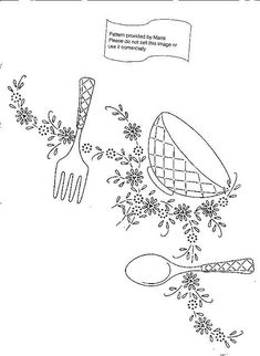 Kitchenware embroidery pattern via Maria at Flickr. 11.6.2015