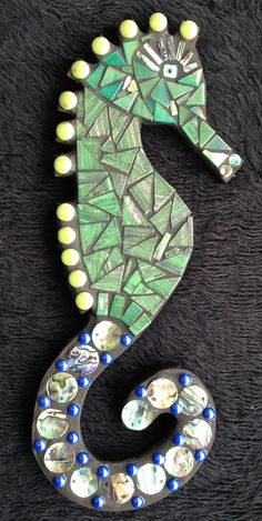 Green and Paua Seahorse,  being donated as second prize for a raffle to raise funds for the NZ Breast Cancer Pink Ribbon Appeal being held on 14th & 15th October 2016