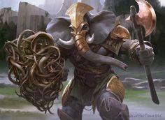 ... (2d, fantasy, illustration, warrior, magic the gathering, elephant