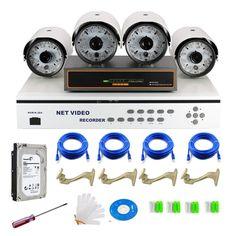 4CH CCTV Surveillance NVR + 4 POE IP Network Security Camera System 2TB SATA HD