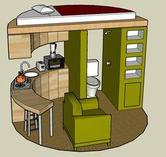 Projecto de pequeno apartamento num tubo de esgoto em betão.