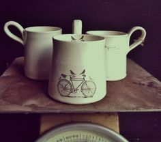 handmade white comfy coffee or tea graphic modern mug.by nelle design under 30 on Etsy, $28.50