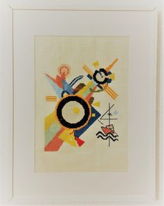 """This """"Bild mit Pfeilform"""" is from 1928, during the period that Kandinsky taught the basic design class for beginners and the course on advanced theory … The post Picture with arrow shape appeared first on easy peasy stitches. Kandinsky, Geometric Art, Easy Peasy, Form, Cross Stitch Patterns, Theory, Arrow, Stitches, Period"""