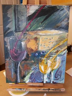 Acrylique Abstrait Vin Fromage