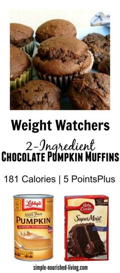 Weight Watchers 2 Ingredient Chocolate Pumpkin Muffins Recipe - Make muffins, mini muffins or cookies - 2 Points Plus to 5 Points Plus. Simple and Delicious. http://simple-nourished-living.com/2015/09/2-ingredient-skinny-healthy-chocolate-pumpkin-muffins-cookies/