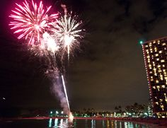 Friday fireworks at Waikiki Beach, Honolulu, Oah'u, Hawaii